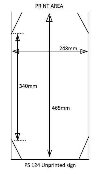 Image and dimensions of PS124 blank floor sign print area supplied by dynamic chemicals