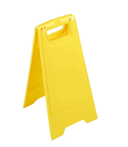 Image of unprinted yellow A-Frame floor sign from Dynamic Chemicals